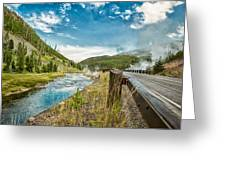 Along The Volcanic Yellowstone Road Greeting Card