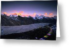 Alpenglow Lights The Summit Of Mt Greeting Card
