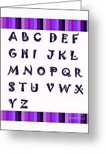 Alphabet With Purple Stripes Greeting Card
