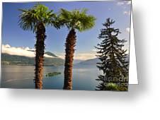 Alpine Lake With Island Greeting Card