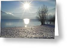 Alpine Lake With Snow Greeting Card