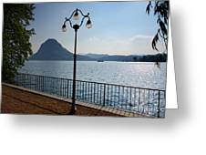 Alpine Lake With Street Lamp Greeting Card