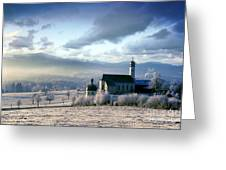 Alpine Scenery With Church In The Frosty Morning Greeting Card