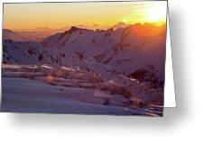 Alpine Sunset On High Alpine Glacier Greeting Card