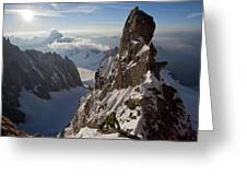 Alpinist On High Mountain Arete Greeting Card