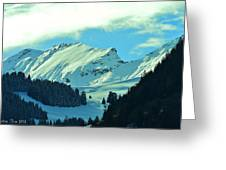 Alps Green Profile Greeting Card