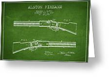 Alston Firearm Patent Drawing From 1887- Green Greeting Card