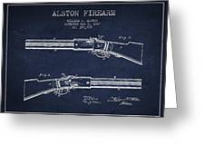 Alston Firearm Patent Drawing From 1887- Navy Blue Greeting Card