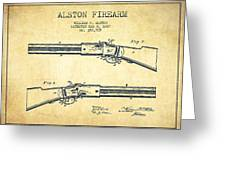 Alston Firearm Patent Drawing From 1887- Vintage Greeting Card