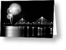 Alton Fireworks Black And White Greeting Card