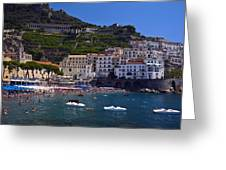 Amalfi Beach And Town Greeting Card