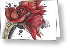 Amaryllis Flowers - 2. -  Elena Yakubovich Greeting Card
