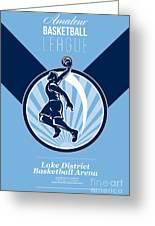 Amateur Basketball League Retro Poster Greeting Card