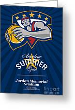 Amateur Summer Basketball League Open Poster Greeting Card by Aloysius Patrimonio