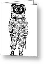 Amazement Astronaut. Vector Illustration Greeting Card
