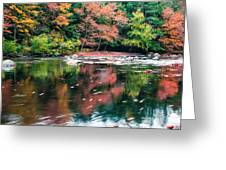 Amazing Fall Foliage Along A River In New England Greeting Card