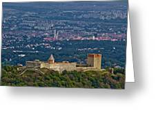Amazing Medvedgrad Castle And Croatian Capital Zagreb Greeting Card