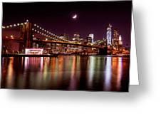 Amazing New York Skyline And Brooklyn Bridge With Moon Rising Greeting Card