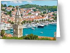 Amazing Town Of Hvar Harbor Greeting Card