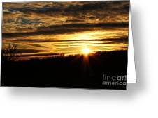Amber Sky Over The Hills Greeting Card