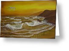 Amber Sunset Beach Seascape Greeting Card