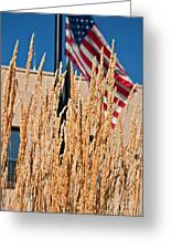 Amber Waves Of Grain And Flag Greeting Card