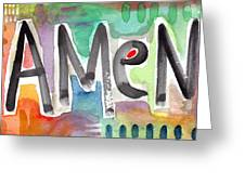Amen- Colorful Word Art Painting Greeting Card by Linda Woods