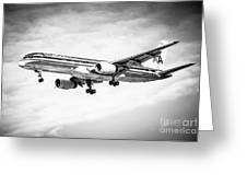 Amercian Airlines 757 Airplane In Black And White Greeting Card
