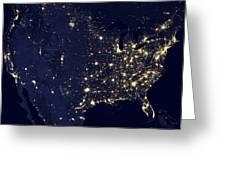 America At Night Greeting Card by Adam Romanowicz