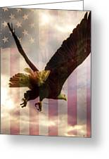 American Bald Eagle In Flight Wtih Flag Greeting Card by Natasha Bishop