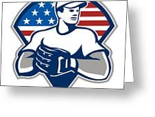 American Baseball Pitcher Gloves Retro Greeting Card