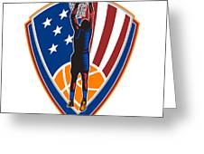 American Basketball Player Dunk Ball Shield Retro Greeting Card by Aloysius Patrimonio