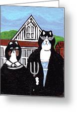 American Cat Gothic Greeting Card