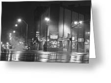 American Coney In Detroit Black And White Greeting Card