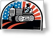 American Farmer Riding Vintage Tractor Greeting Card by Aloysius Patrimonio
