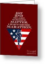 American Female Marathon Runner Retro Poster Greeting Card by Aloysius Patrimonio