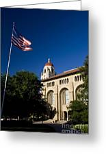 American Flag And Hoover Tower Stanford University Greeting Card