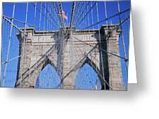 American Flag Flying Over Brooklyn Greeting Card