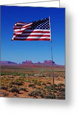 American Flag In Monument Valley Greeting Card