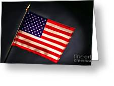 American Flag In Smoke Greeting Card by Olivier Le Queinec