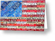American Flag Recycled License Plate Art Greeting Card