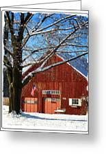 American Flag Red Barn Greeting Card