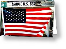 American Flag Route 66 Greeting Card