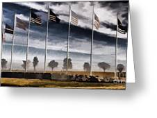 American Flag Still Standing Greeting Card by Luther   Fine Art