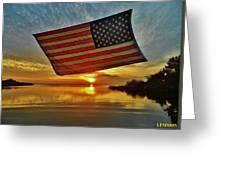 American Flag Sunset 14 2/18 Greeting Card