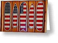 American Flag Surfboards Original Painting By Mark Lemmon Greeting Card