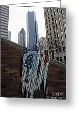 American Flag Tattered Greeting Card