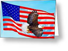 American Flag With Bald Eagle Greeting Card