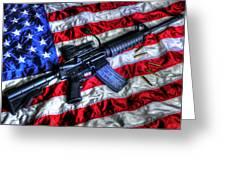 American Flag With Rifle Greeting Card by Geoffrey Coelho