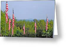 American Flags With Kennesaw Mountain In Background Greeting Card